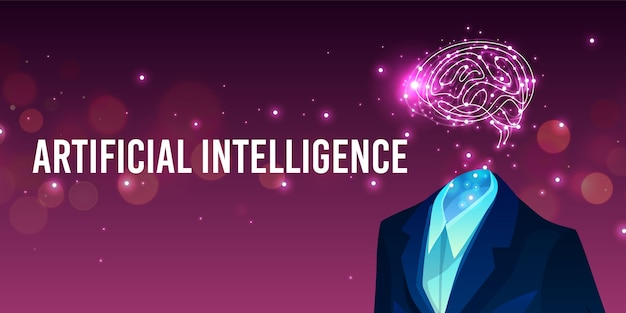 Artificial intelligence illustration of human brain in suit and digital mind. Free Vector
