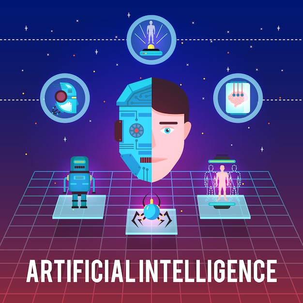 Artificial intelligence illustration with cyborg face hi-tech icons and robotic figures on stellar background Free Vector