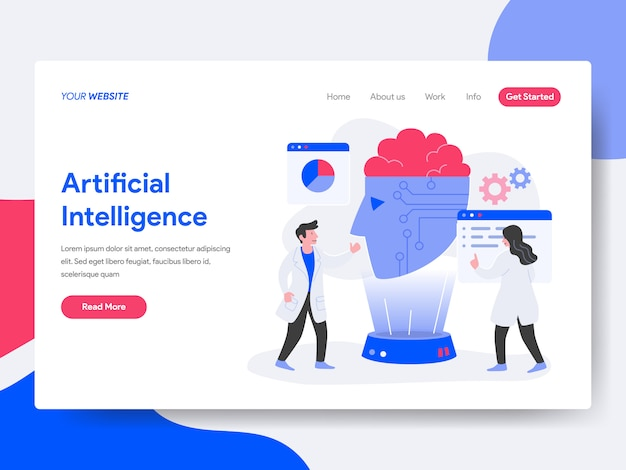 Artificial intelligence illustration Premium Vector