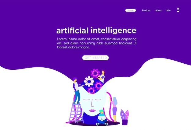 Artificial intelligence illustration Premium Vector