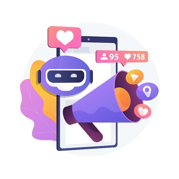 소셜 미디어 추상적 인 개념 그림에서 인공 지능 무료 벡터