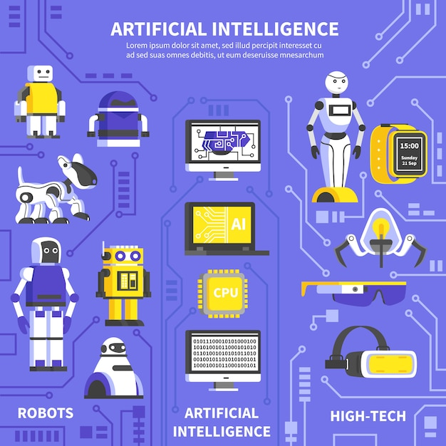 人工知能インフォグラフィック 無料ベクター