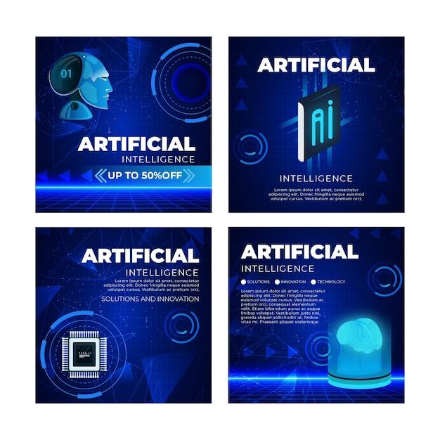 인공 지능 인스 타 그램 게시물 모음 무료 벡터