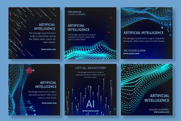 Artificial intelligence instagram posts template Free Vector