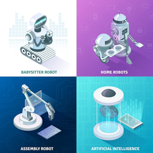 Artificial intelligence isometric design concept Free Vector