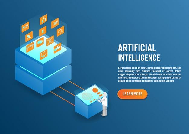 Artificial intelligence in isometric design Premium Vector