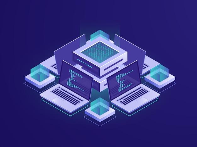 Изометрические иконки искусственного интеллекта, серверная комната, центр обработки данных и концепция базы данных Бесплатные векторы