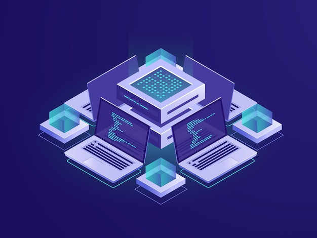 Artificial intelligence isometric icon, server room, datacenter and database concept Free Vector