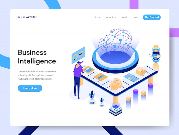 Artificial intelligence isometric illustration for website page Premium Vector