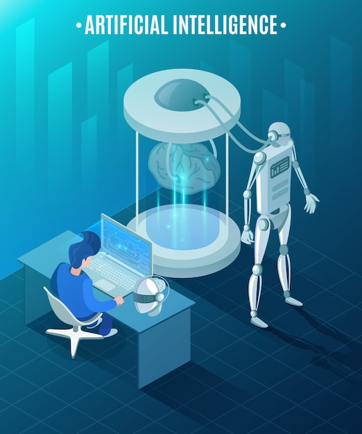 Artificial intelligence isometric illustration Free Vector