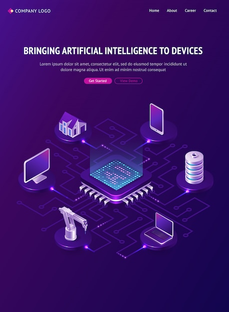 Artificial intelligence isometric landing page, ai Free Vector