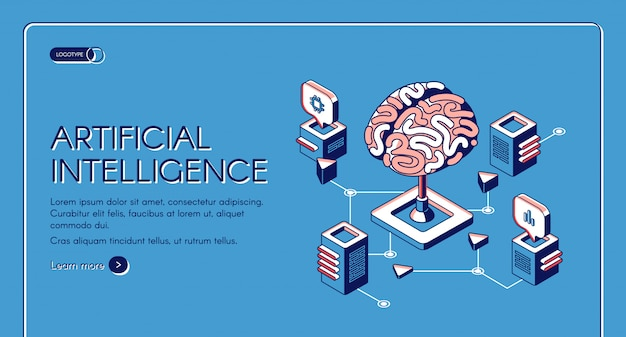 Artificial intelligence isometric landing page Free Vector