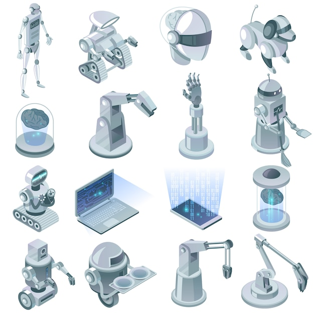 Artificial intelligence isometric set Free Vector