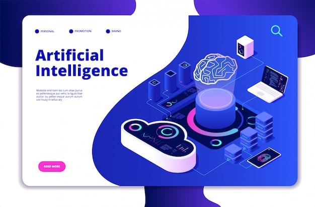 人工知能の着陸。 aiスマートデジタルブレーンネットワーキングニューラル学習インテリジェントソリューションイノベーションコンセプト Premiumベクター