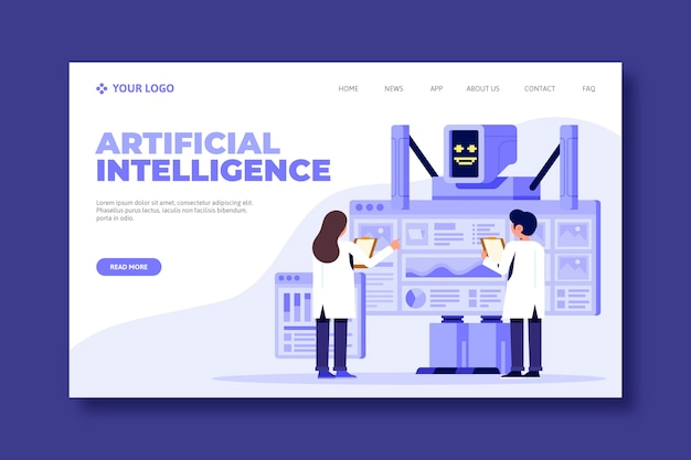 Artificial intelligence landing page concept Free Vector