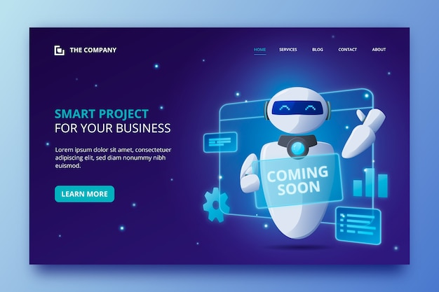 Artificial intelligence landing page template Premium Vector