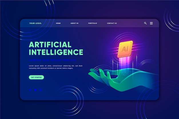 Artificial intelligence landing page template Free Vector