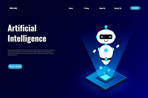 Artificial intelligence  for landing page Premium Vector