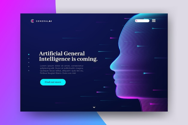 Artificial intelligence landing page Free Vector