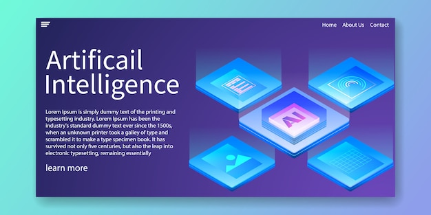Artificial intelligence landing page Premium Vector