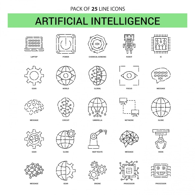 Artificial intelligence line icon set - 25 dashed outline style Free Vector