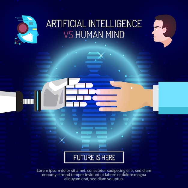 Artificial intelligence mind composition with robot and human hands stretched to each other Free Vector