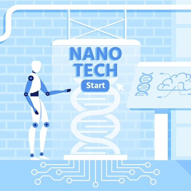 Artificial intelligence and nano technology metaphor Premium Vector