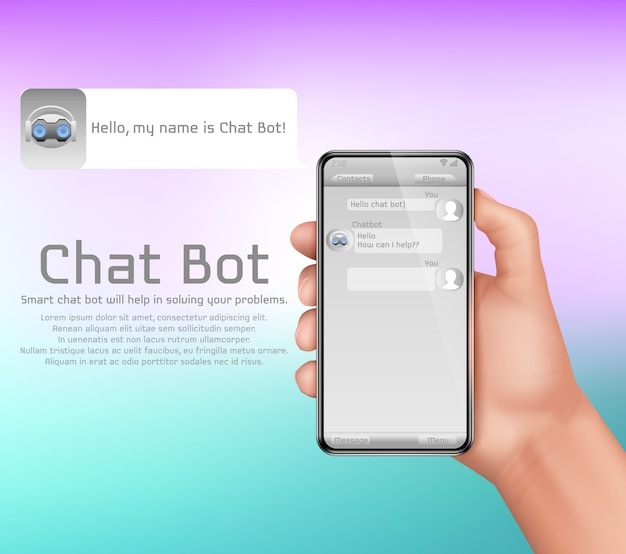 Artificial intelligence, online chatbot concept background. human hand holding smartphone Free Vector