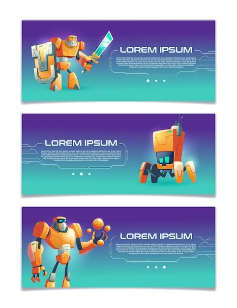 Artificial intelligence online service, robotics technologies startup, computer game portal cartoon Free Vector