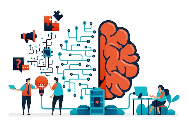 Artificial intelligence for problem solving. artificial brain network system. intelligence technology for question n answer, ideas, completing task, promotion. Premium Vector