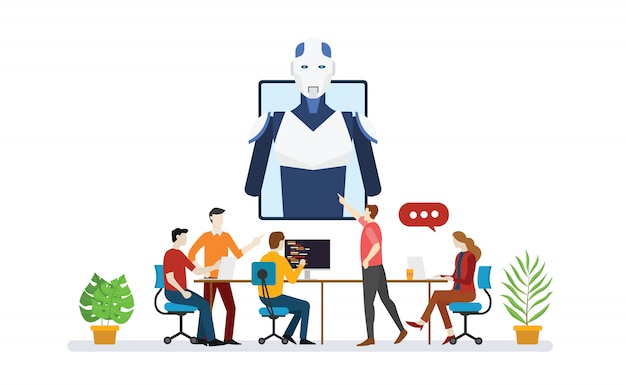 Artificial intelligence robot team developer programmer with script technology discussion with modern flat style - vector Premium Vector