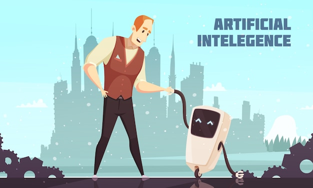 Artificial intelligence robots assistants Free Vector