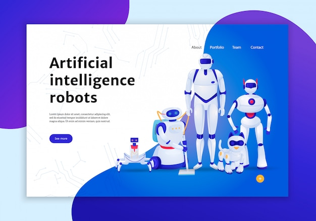 Artificial intelligence robots concept of web banner  illustration Free Vector