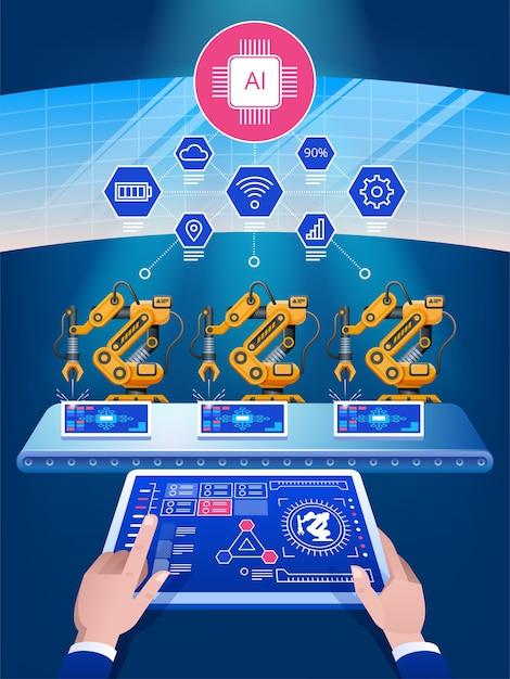 Искусственный интеллект интеллектуальная промышленность, автоматизация и концепция пользовательского интерфейса: пользователи подключаются к планшету и смартфону, обмениваются данными с киберфизической системой Premium векторы