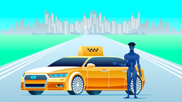 Artificial intelligence taxi with robot driver. Premium Vector