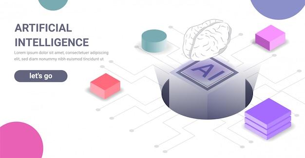 Баннер концепции технологии искусственного интеллекта Premium векторы