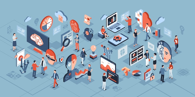 Artificial intelligence technology isometric composition Premium Vector