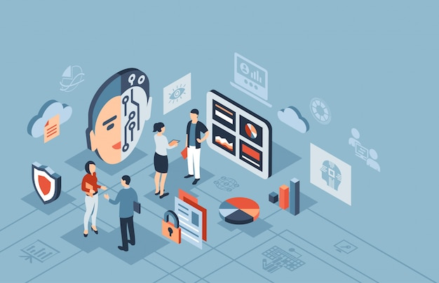 Artificial intelligence technology isometric icons Premium Vector