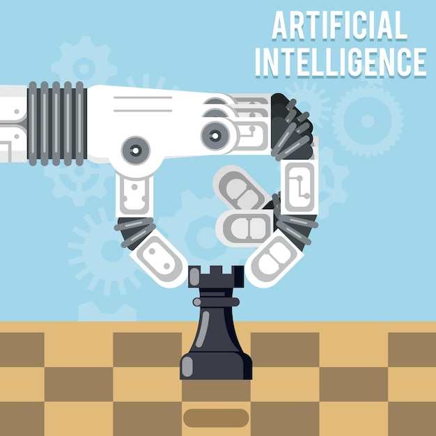 Artificial intelligence technology. robot hand plays chess, arm makes a move with rook Free Vector