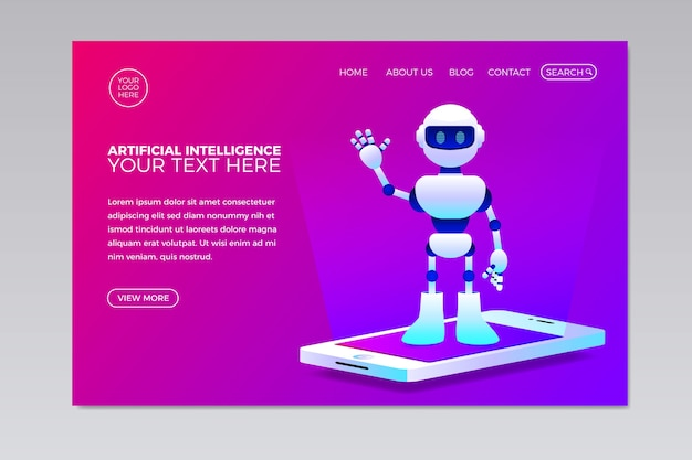 Artificial intelligence template landing page Free Vector