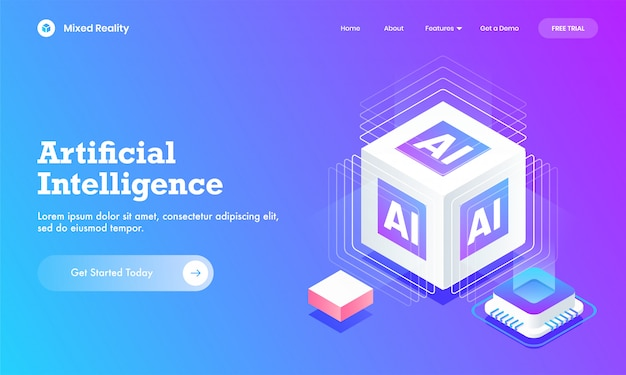 Artificial intelligence website or landing page design with 3d ai cube block and digital circuit chip. Premium Vector