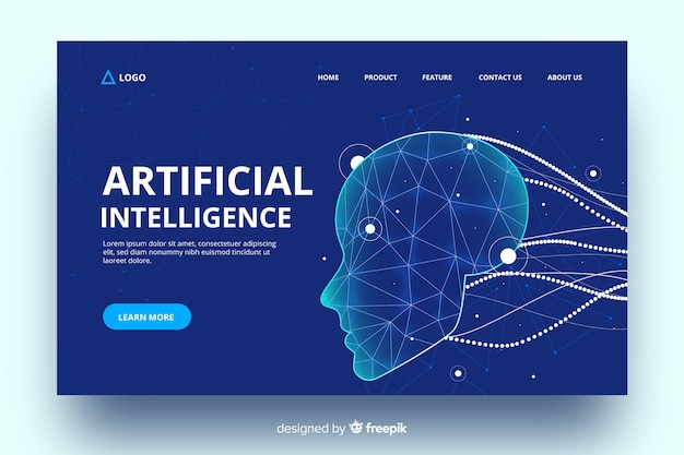 Artificial intelligence with virtual cables landing page Free Vector