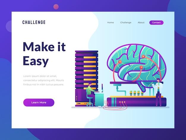 Artificial intelligent website flat illustration Premium Vector