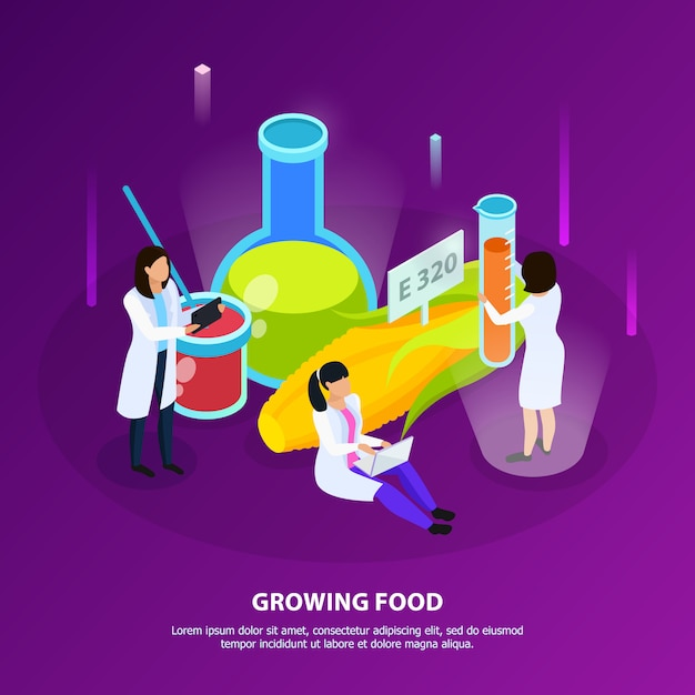 Artificial nutrition products isometric composition with scientists during growing of food on purple Free Vector