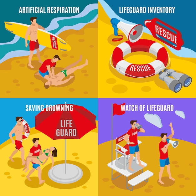 Artificial respiration lifeguard inventory saving drowning watch of lifeguard isometric compositions Free Vector