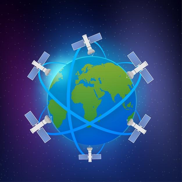 Искусственные спутники на орбите планеты земля Premium векторы