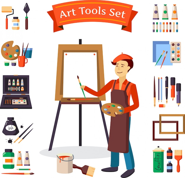Artist and art tools set Free Vector