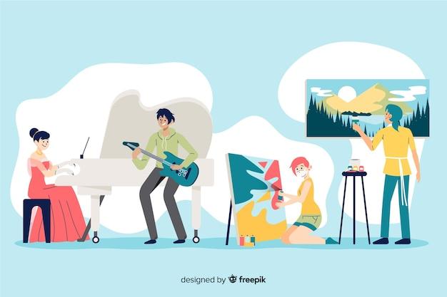 직장 평면 디자인 아티스트 무료 벡터