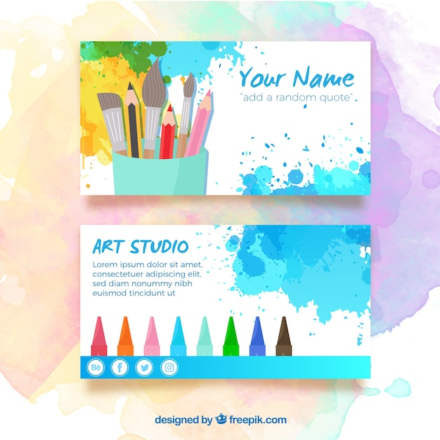 artist business card free vector - Artist Business Cards