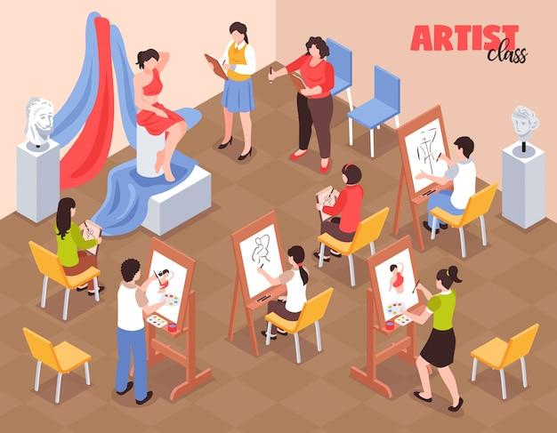 Художник класс с учениками возле мольбертов с палитрой и модель в красной одежде изометрической вектор Бесплатные векторы